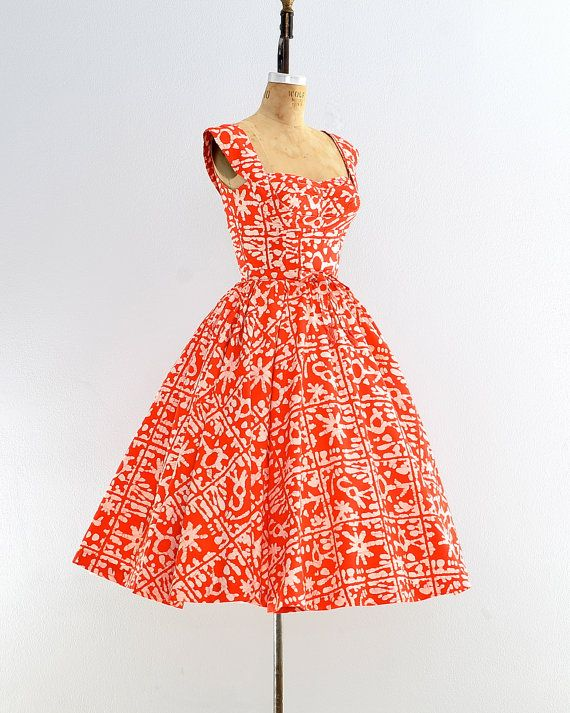 r e s e r v e d.... vintage 1950s dress batik by PickledVintage
