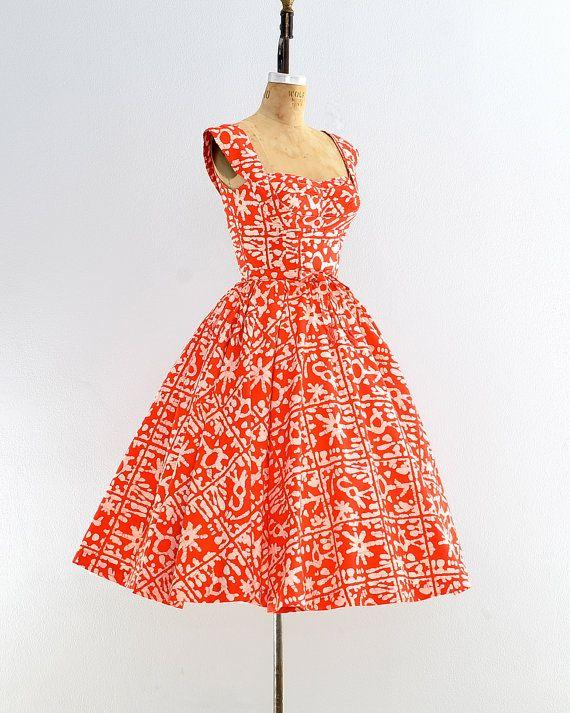 r e s e r v e d.... vintage 1950s dress batik by PickledVintage