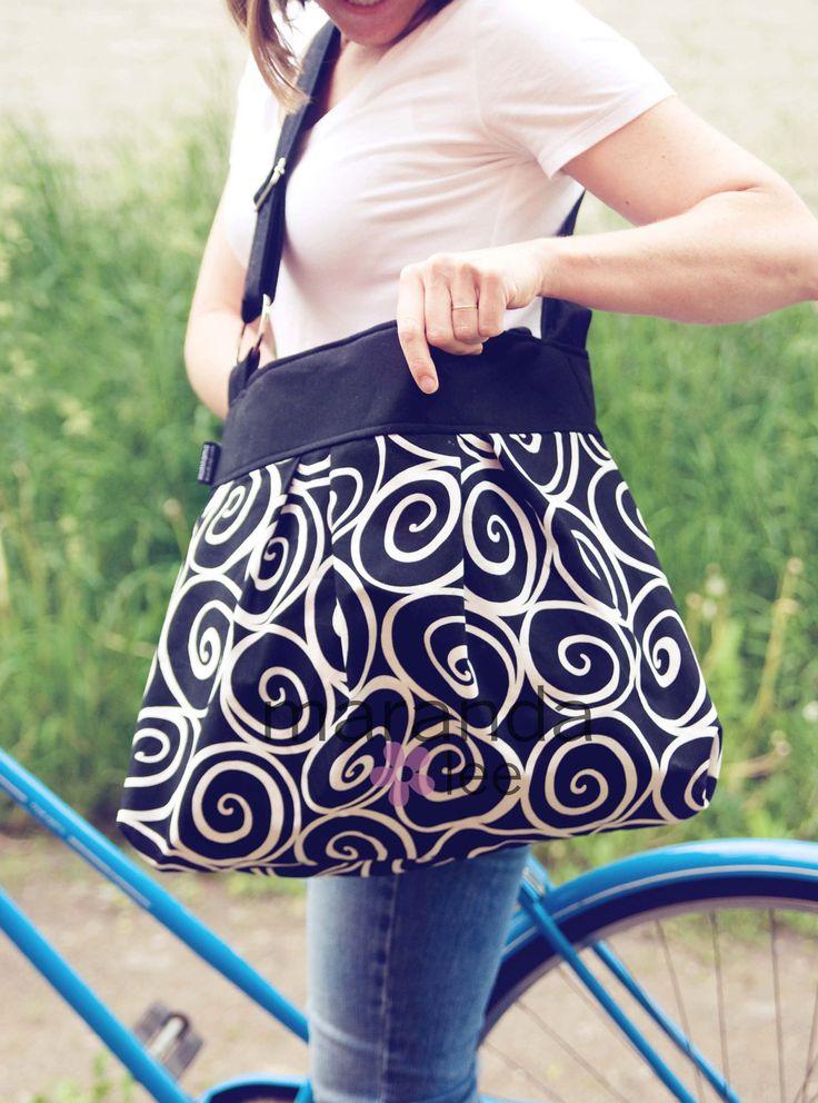 Emma Large Diaper Bag Messenger in Black Ironworks - Custom Lining-Adjustable Strap Elastic Pockets. $88.00, via Etsy.