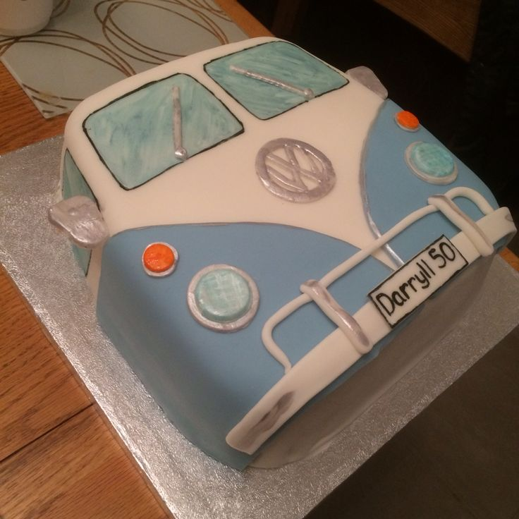 VW Camper van cake, made for a 50th Birthday. Vanilla sponge cake with vanilla butter cream, sugar paste icing on top.