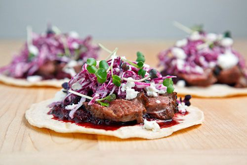 Duck Tacos with Chipotle Cherry Salsa & Crumbled Goats Cheese