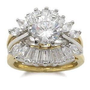 CZ Wedding Rings - Two Tone CZ Engagement Ring with Wedding Ring Guard (Jewelry)  http://balanceddiet.me.uk/lushstuff.php?p=B004QVK9G4  B004QVK9G4