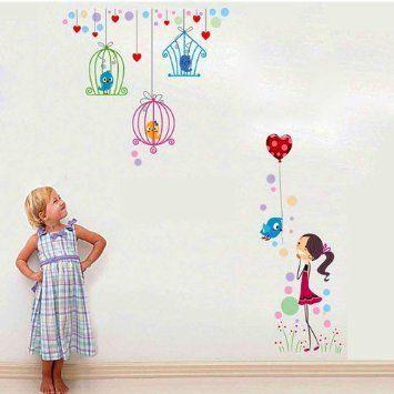 Wall Sticker Adesivo Murale da parete Uccelli e Bambina bimba camera muro adesivi ragazzi: Amazon.it: Prima infanzia