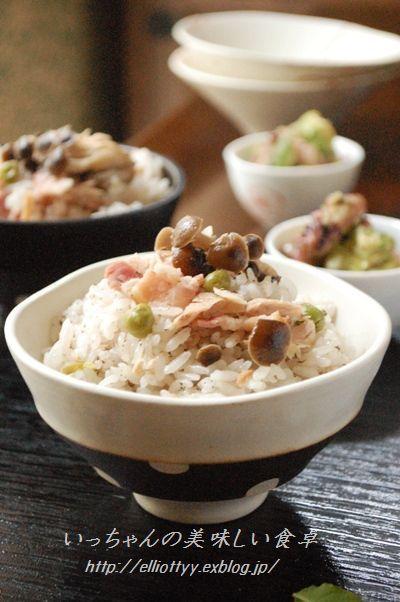 しめじとツナとベーコンのゆかり風味の炊き込みご飯 by エリオット ...
