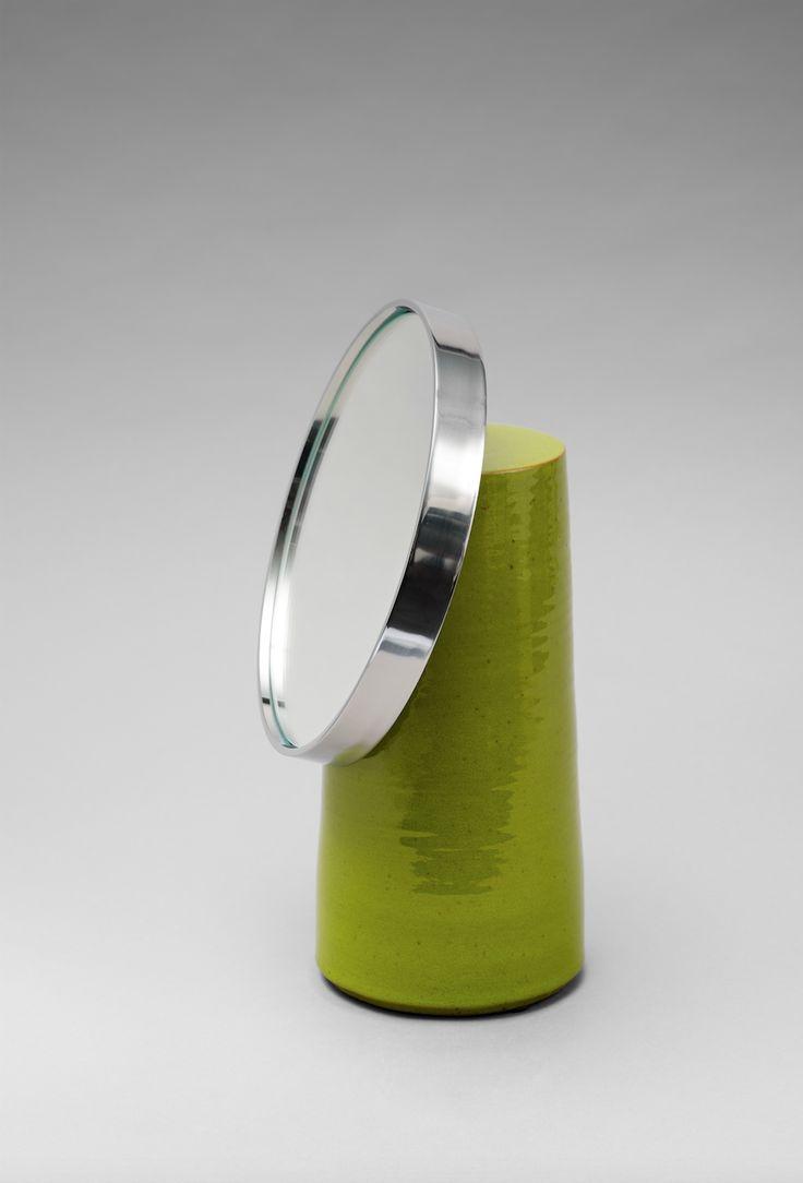 MIROIR INCLINACIO / Céramique, inox & miroir / Eric Schmitt pour Ibu Gallery / INCLINACIO MIRROR / Ceramic, stainless steel & mirror / Eric Schmitt for Ibu Gallery