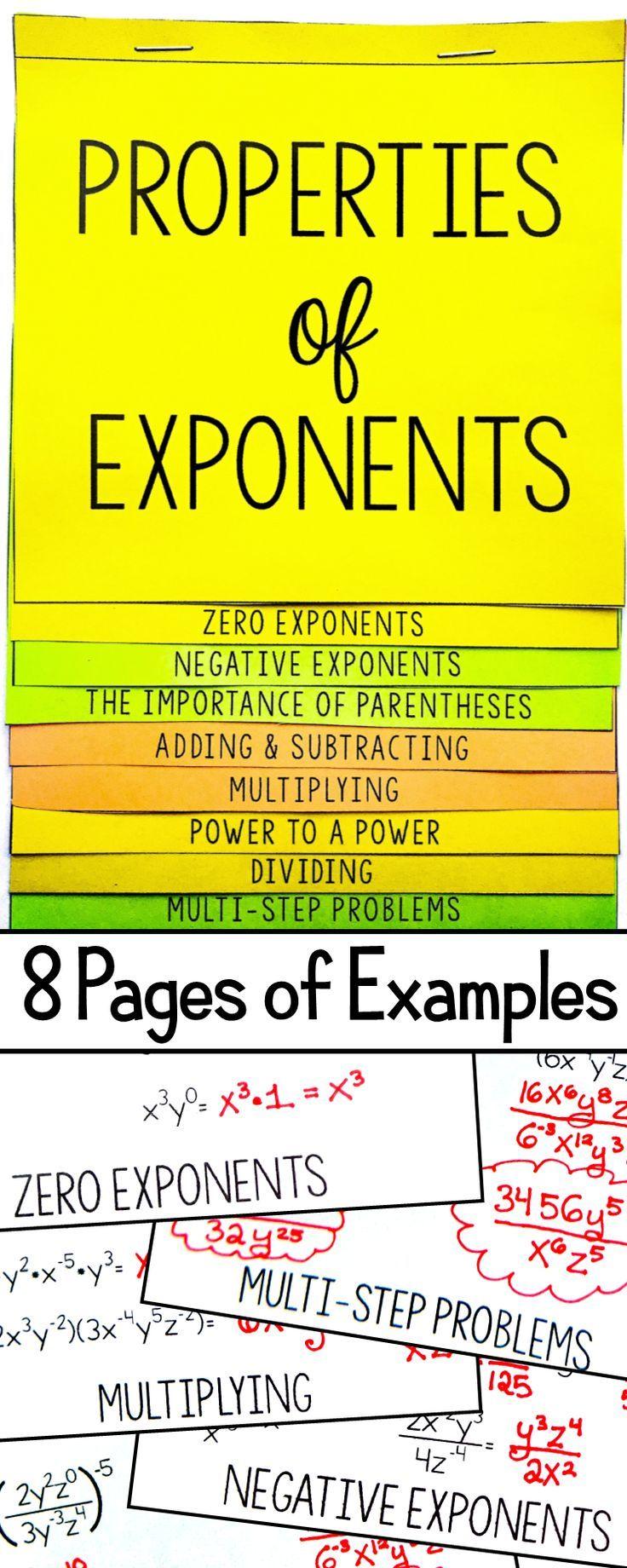 Properties of Exponents Flip Book Algebra 1 & HS