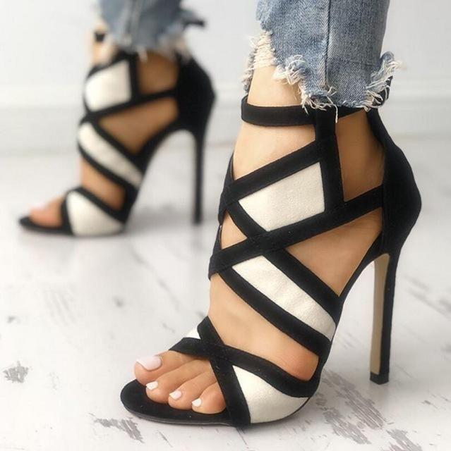femme Zapatos Mujer sexy dames sandales à lanières croisées minces talons hau…