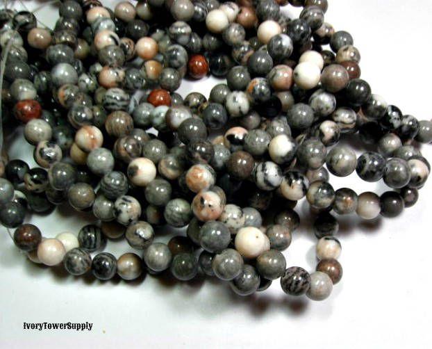 1 Strand 8mm Pink Zebra Jasper Beads, Natural Stone Beads, Multi Color Beads, Semi Precious Beads, Gemstone Beads, Round beads by IvoryTowerSupply on Etsy