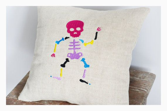Embroidered skeleton pillow cover halloween pillow case by KoTshop