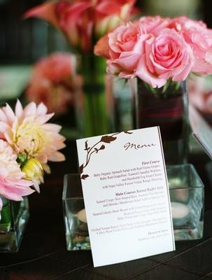 Pink and Brown Vineyard Wedding - Reception,  Menu