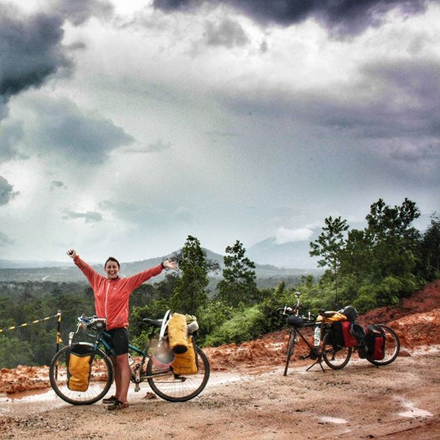 Just crossed the equator! Welcome to a whole new emisphere! Have you ever crossed the equator overland? #cycletouring#cyclingphotos#slowtravel#adventurecycling#iamagirlrider#cyclingshots#justbikeit#biketour#biketravel#travelbybike#worldbybike#bik