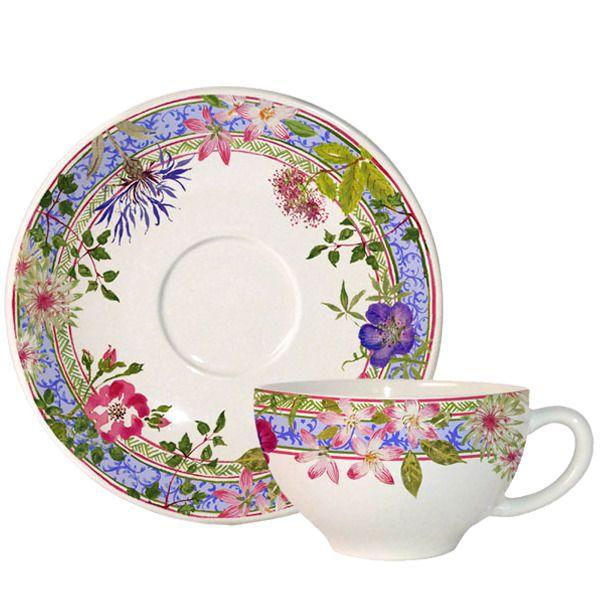 Taza de té con plato Gien Millefleurs