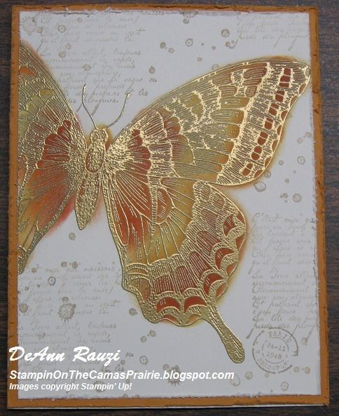 Swallowtail stamp-  embossed with gold and then sponged with Cajun Craze and More Mustard
