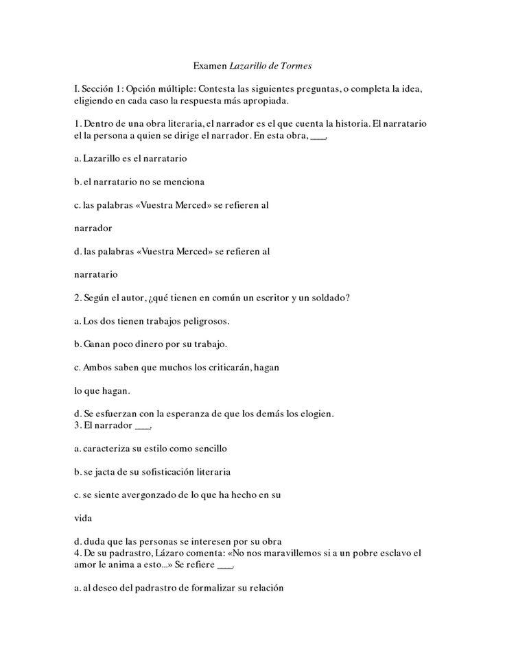 Page 1 Examen Lazarillo de Tormes.docx Lazarillo de