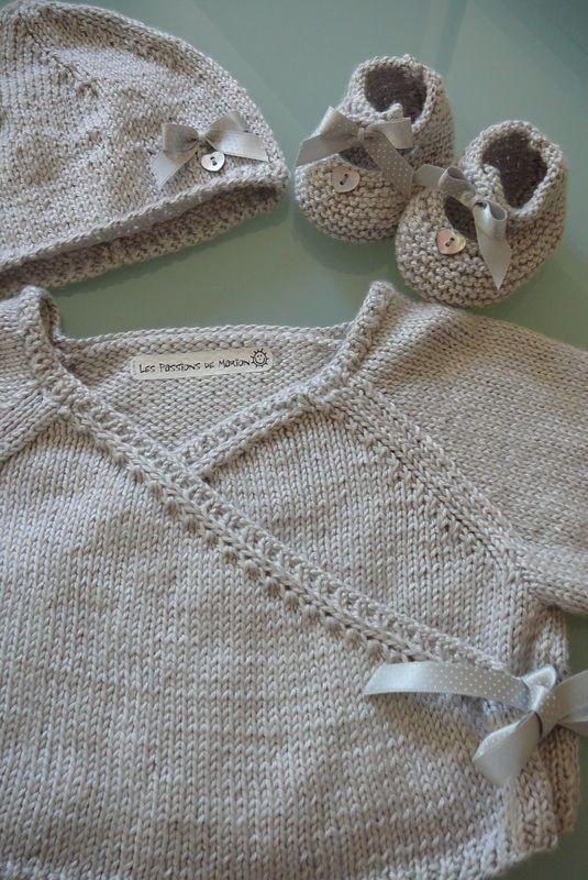 Ensemble en soie gris perle (taille naissance)