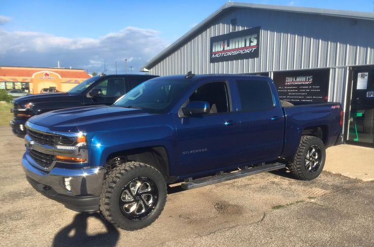 """Rough Country 3.5"""" suspension system, Fuel Offroad 20"""" Flow wheels, and Mickey Thompson Deegan 38 tires on this 2016 Chevy 1500. No Limits Motorsport (269) 225-1111"""