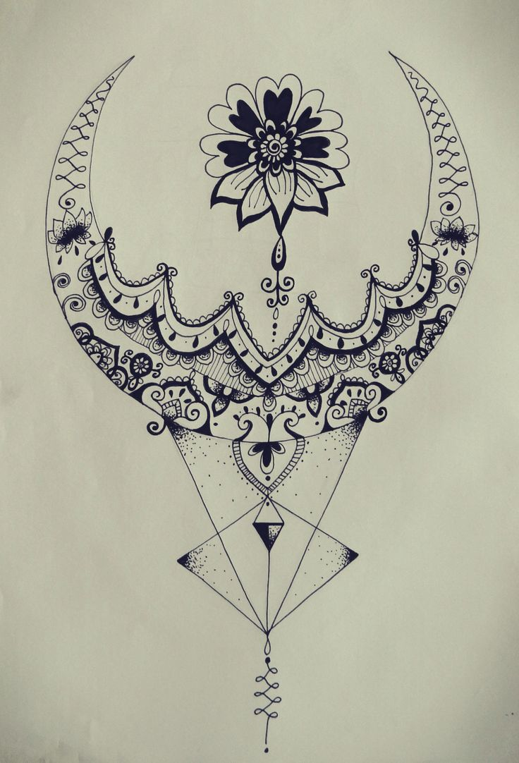 triangle zentangle floral moon mandala tattoo design.                                                                                                                                                                                 Mais