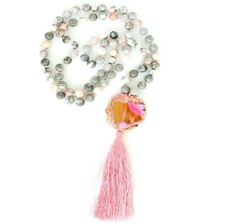 Beautiful natural stone tassel necklace