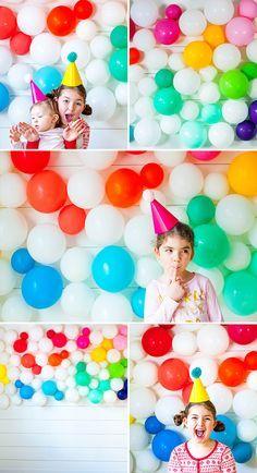rainbow balloon wall | the sweet lulu blog