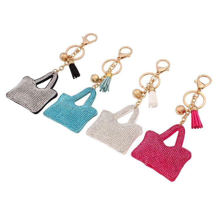 """Mode Petit #Porte-clés En Cuir et Strass Style """" Sac pour #femmes""""Couleur bleu,rouge,beige ou gros. Anneau en Acier Style Plaque Or 18K"""