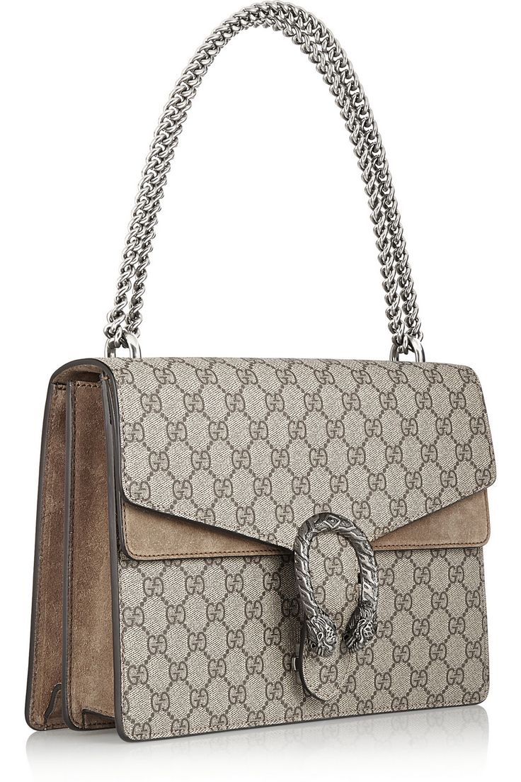 Gucci | Dionysus coated canvas and suede shoulder bag | NET-A-PORTER.COM