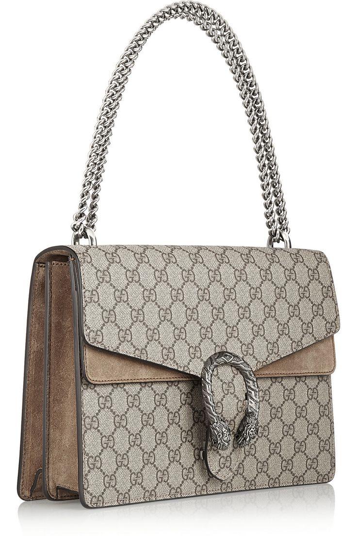 Gucci | Dionysus coated canvas and suede shoulder bag | NET-A-PORTER.COM
