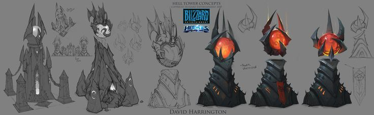 Heroes Of The Storm - Hell Towers Concept Art, David Harrington on ArtStation at https://www.artstation.com/artwork/heroes-of-the-storm-hell-towers-concept-art