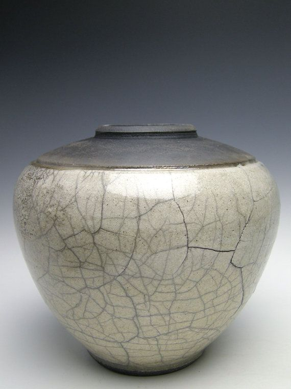 Vase Raku  pottery white crackle vase vase ceramic by Letsgetmuddy, $79.00