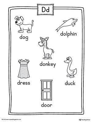Letter D Word List with Illustrations Printable Poster