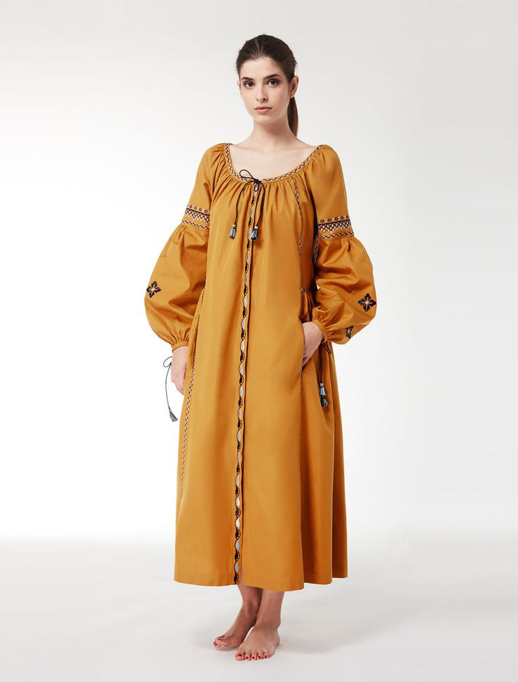 MaxMara WeekEnd NUBLE ochre: Cotton Oxford maxi dress Product page