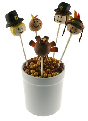 Need a fun treat and easy table decoration?  These Thanksgiving cake pops are so fun.  Find the instructions at http://www.countrykitchensa.com/idea/thanksgiving/thanksgiving-cake-pops/28/291/1364.