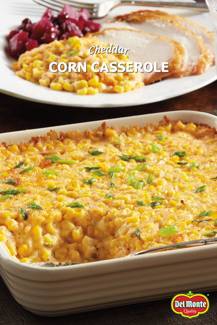Cheddar Corn Casserole - Creamy and savory-sweet, this casserole pairs with turkey and ham alike. Try the different stir-ins and toppings like bacon, croutons or crackers to make it your own – your family will love it lots of ways. A great dish anytime - from holidays, reunions and potlucks - our fans love it so much it's the most pinned Del Monte recipe! #10MINUTEWOW #DELMONTECONTEST