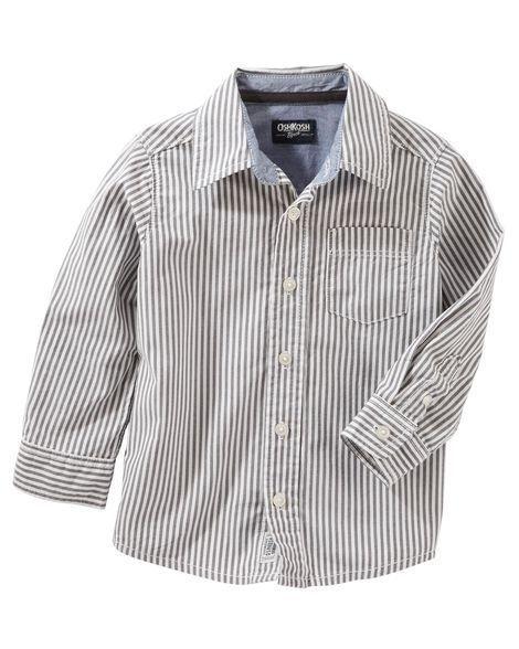 Striped Button-Front Uniform Shirt