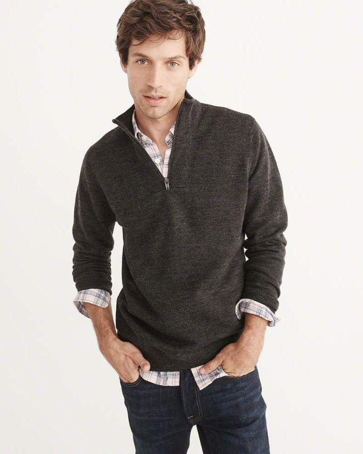 A&F Men's Merino-Blend Half-Zip Sweater in Dark Grey - Size M