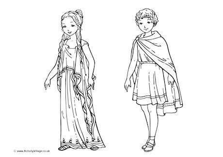 ancient greek clothing coloring pages | Ancient Greek Children Colouring Page | Ancient greek ...