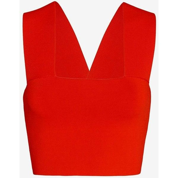 A.L.C. Ali Crop Tank: Red (1.175 VEF) ❤ liked on Polyvore featuring tops, red, a.l.c., strappy tank, a.l.c. tank, red bandeau top and red top