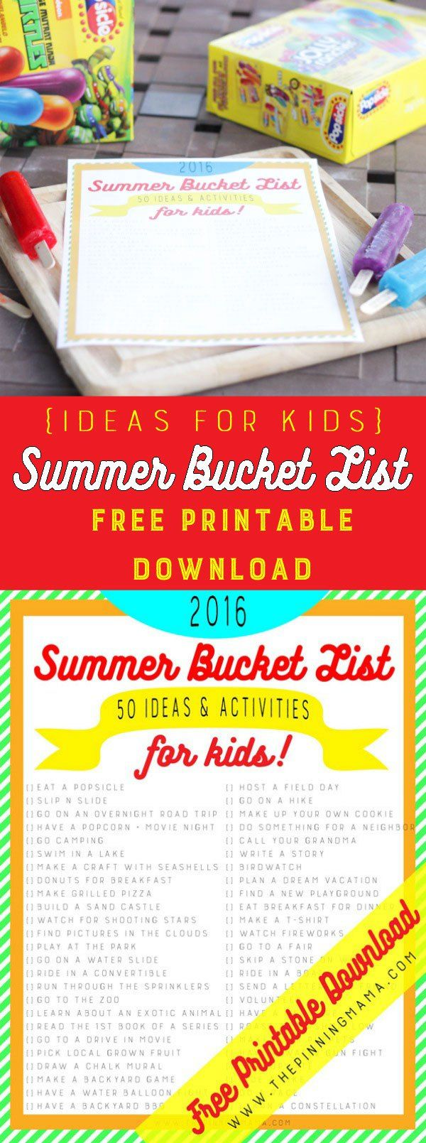 FREE Summer Bucket List - 50 ideas and activities to keep your kids busy this summer! This a a great way to keep your kids having fun and making memories this summer!  Get the free printable download and use our list, or make your own with the customizable version! Kick summer off with one of the brand new flavors of Popsicles and keep having fun all summer long! #OriginalPopsicle **AD