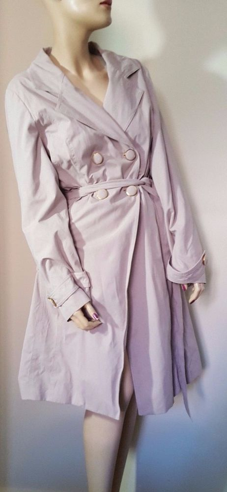CC House of Fraser Peach Skin Beige Raincoat Mac Coat Full Length Size 16 #CC #TrenchCoatsMacs #Casual