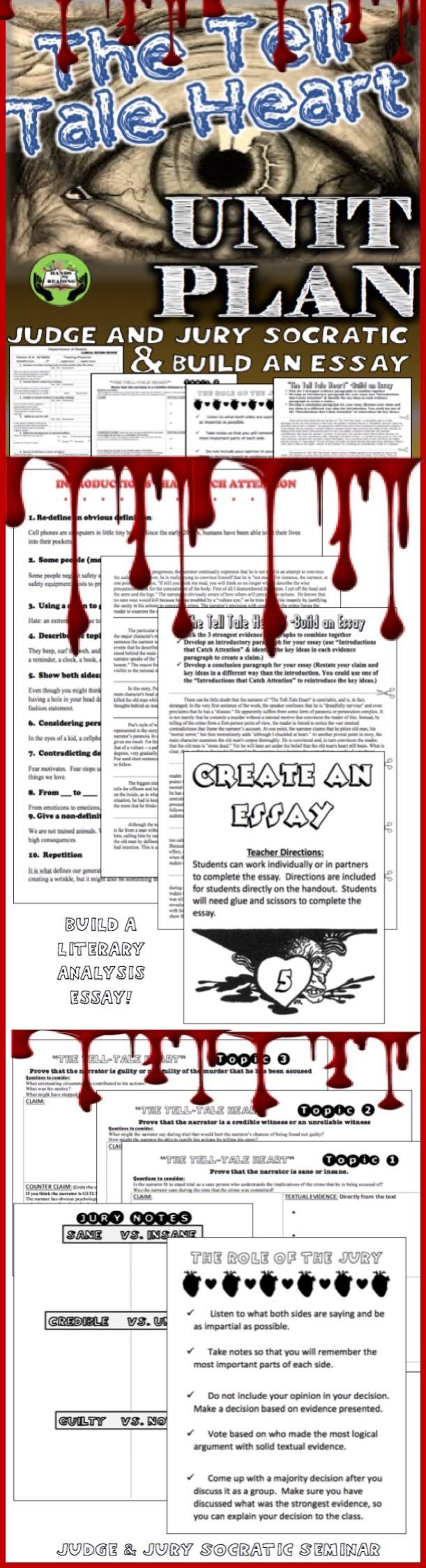 "CITING STRONG EVIDENCE IS MADE EASY WITH THIS UNIT FROM EDGAR ALLAN POE'S ""TELL TALE HEART."" NO PREP- JUST PRINT AND COPY. Throughout this unit, students will engage in analysis of text and development of strong evidence to present for the Judge and Jury Socratic Seminar.  In addition, The ""Create an Essay"" activity requires students to evaluate multiple evidence paragraphs to build three evidence paragraphs. Then, include a connecting introduction and conclusion."