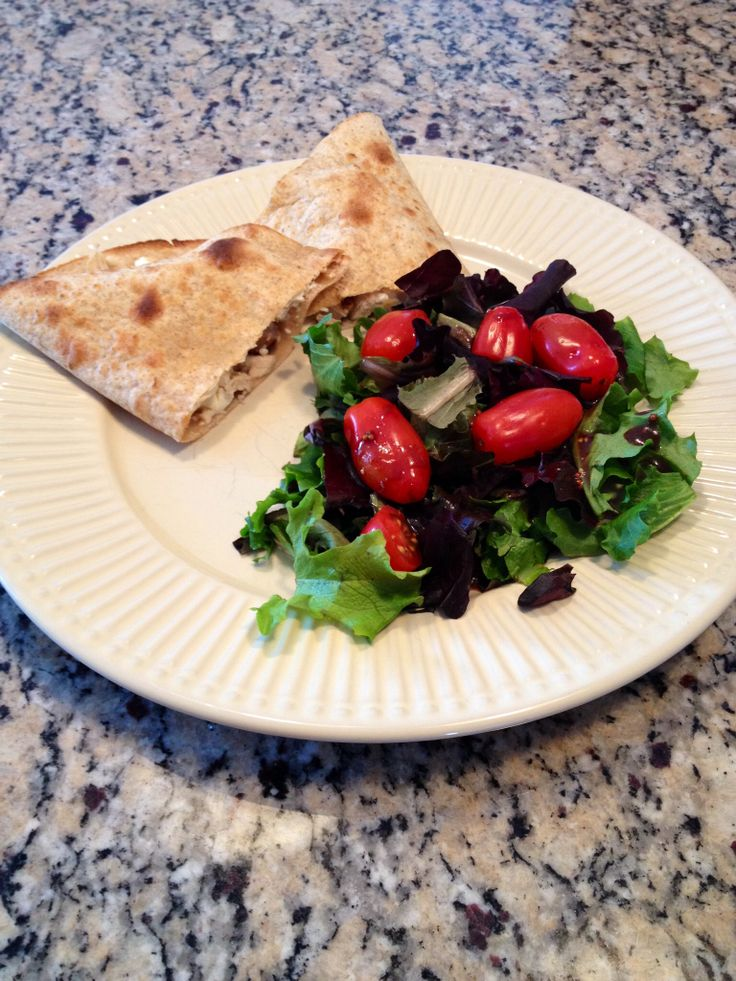 Diet-schmiet! I'm eating REAL food. Chicken and feta quesadilla and a ...