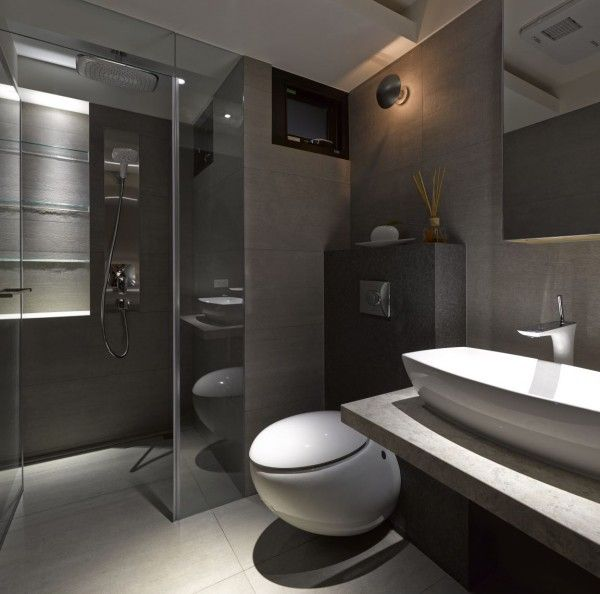 70 best modern toilet room design images on pinterest for Home restroom design