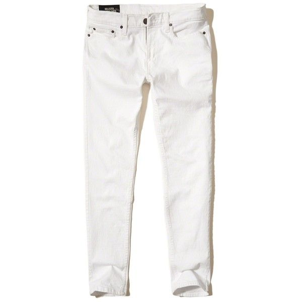 Hollister Classic Taper Jeans ($25) ❤ liked on Polyvore featuring men's fashion, men's clothing, men's jeans, white, mens slim fit tapered jeans, mens tapered leg jeans, mens tapered jeans and mens white jeans