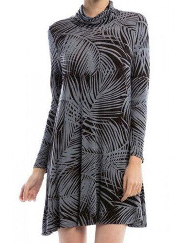 Long Sleeve TurtleNeck Dress - Grey Palm