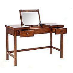 Willis & Gambier - Dark brown 'Kochi' dressing table with inbuilt mirror and stool