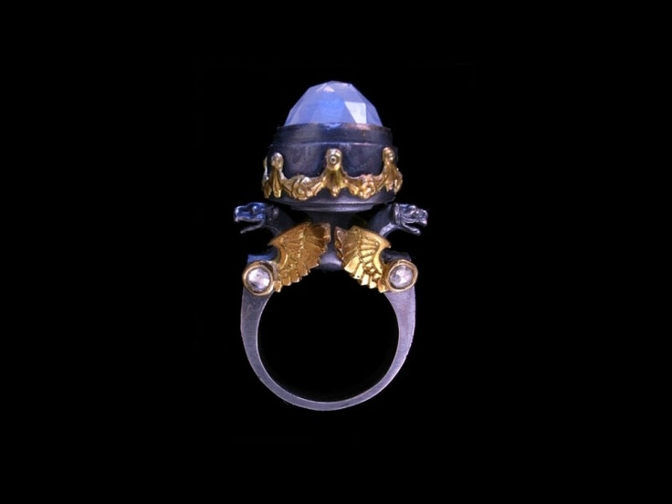 William Llewellyn Griffith ~ Gargoyle and Moonstone Urn Ring ~ Oxidised sterling silver, 18ct yellow gold, rose cut moonstones, and rose cut diamonds.
