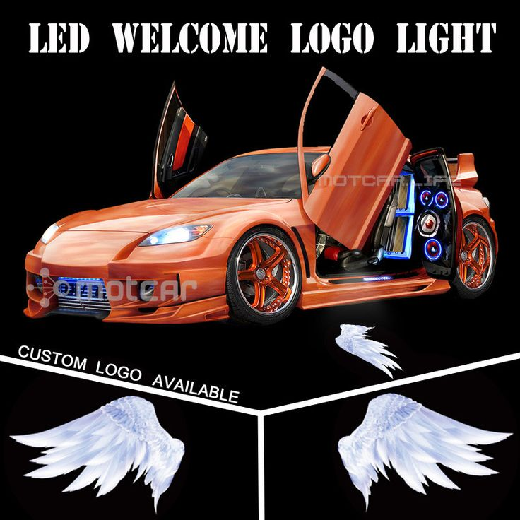 Universal Fit Car Door Welcome Light Projector Laser 3D Angel Wings GOBO Logo Light Welcome Ghost Shadow Puddle Emblem Spotlight