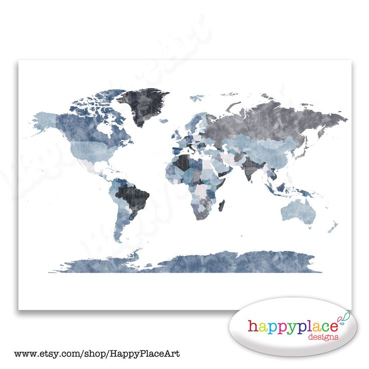 Textured World Map Poster Denim Blue and Greys. by HappyPlaceArt