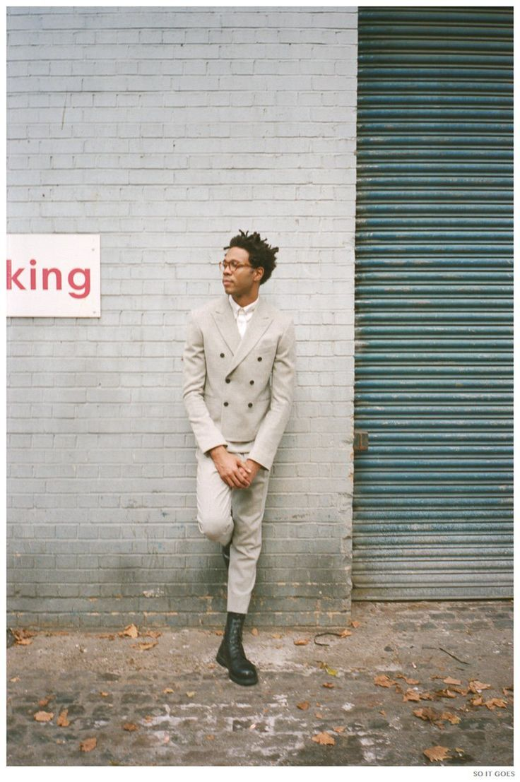 DESIGNER CHARLIE CASELY-HAYFORD POSES FOR SO IT GOES // double breasted suit with boots #menswear