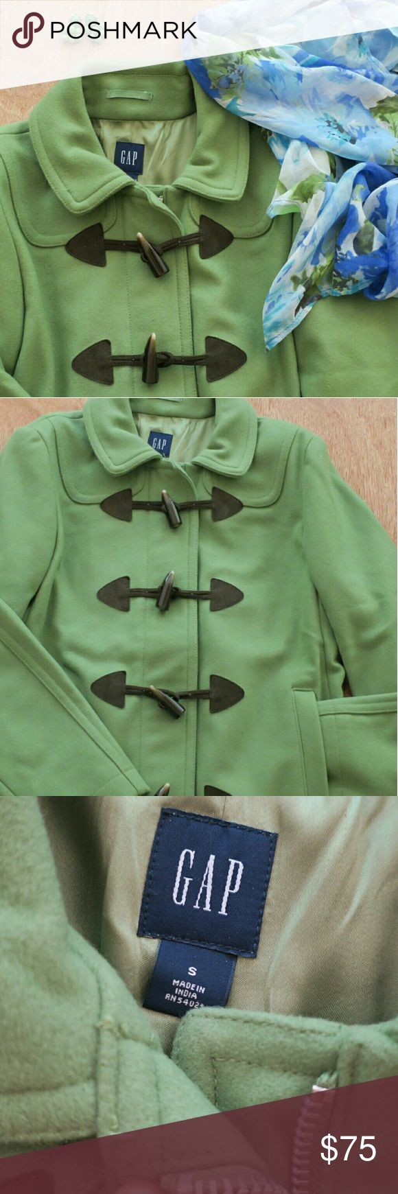*SALE TODAY**GAP Olive Green Toggle Peacoat! so pretty in GREAT condition barely worn!  Size small. Inside zipper and hidden pocket. Two outside pockets. Reasonable Offers Welcome! GAP Jackets & Coats