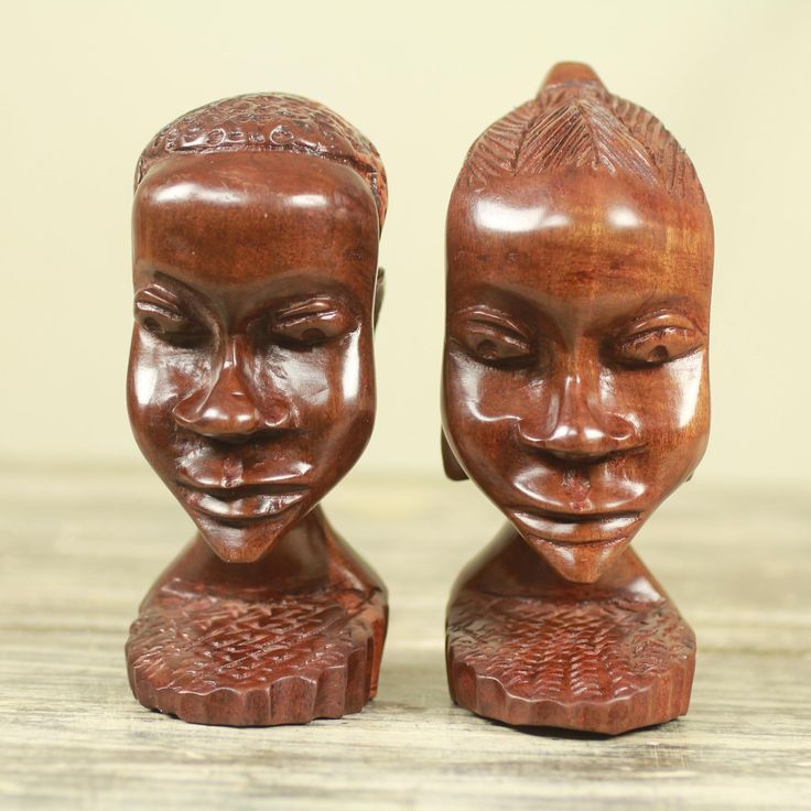Novica Set of 2 Handcrafted Ebony 'Ghanaian Couple' Sculptures